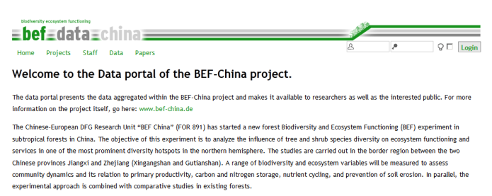 Data portal of the BEF-China project